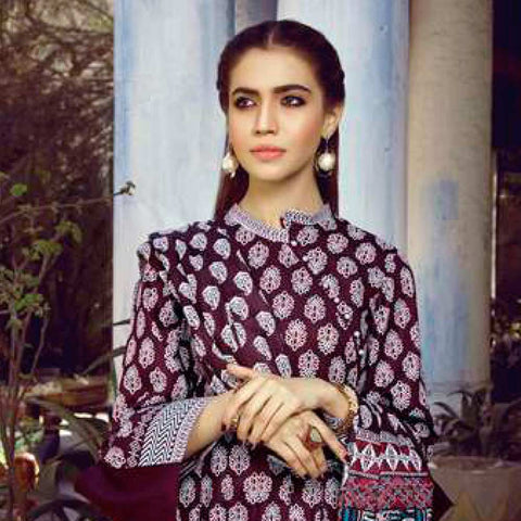 Monsoon Printed Lawn 3 Piece Un-Stitched Suit Vol 1 - 4 A