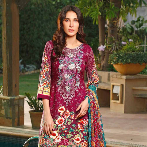 Haya Emaan Embroidered Viscose 3 Piece Un-Stitched Suit - 4A