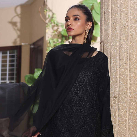 Kalyan Black & White Embroidered Shifli 3 Piece Un-Stitched Suit - 04