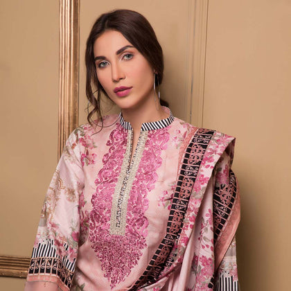 Sahil Luxury Embroidered Festive Lawn 3 Piece  Un-Stitched Suit - A4