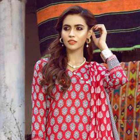 Monsoon Printed Lawn 3 Piece Un-Stitched Suit Vol 1 - 4 B