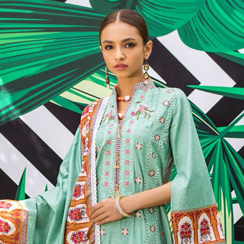 Signature Icon Printed Embroidered Lawn 3 Piece Un-Stitched Suit - 4 B