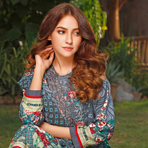 Haya Emaan Embroidered Viscose 3 Piece Un-Stitched Suit - 4B