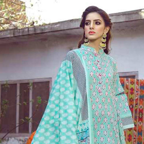 Monsoon Printed Lawn 3 Piece Un-Stitched Suit Vol 1 - 4 C