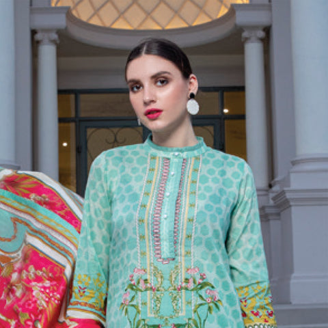 Monsoon Printed Lawn 3 Piece Un-Stitched Suit Vol 2 - 4 C