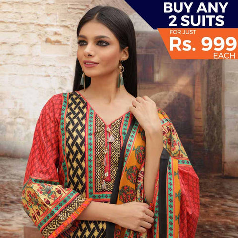 Rangreza Printed Cotton 3 Piece Un-Stitched Suit - 05