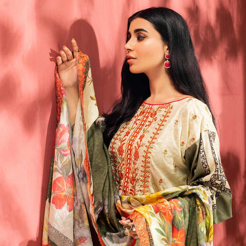 Iman Embroidered Lawn 3 Piece Un-Stitched Suit Vol 2 - 5