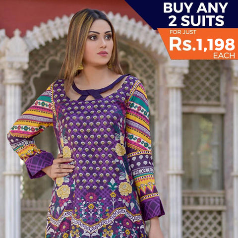 Three Star Printed Lawn 3 Piece Un-Stitched Suit Vol 2 - 4 B