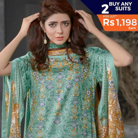 Three Star Printed Lawn 3 Piece Un-Stitched Suit Vol 1 - 2 B