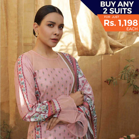 Rangreza Printed Lawn 3 Piece Un-Stitched Suit Vol 2 - 1