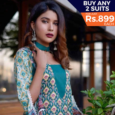 Rangreza Printed Lawn 3 Piece Un-Stitched Suit Vol-07 ZS - 06