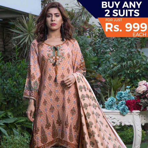 Rangreza Printed Lawn 3 Piece Un-Stitched Suit Vol-09 - ZS 01