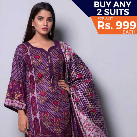 Rangreza Printed Lawn 3 Piece Un-Stitched Suit Vol-04 ZS - 14