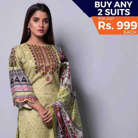 Rangreza Printed Lawn 3 Piece Un-Stitched Suit Vol-04 ZS - 11