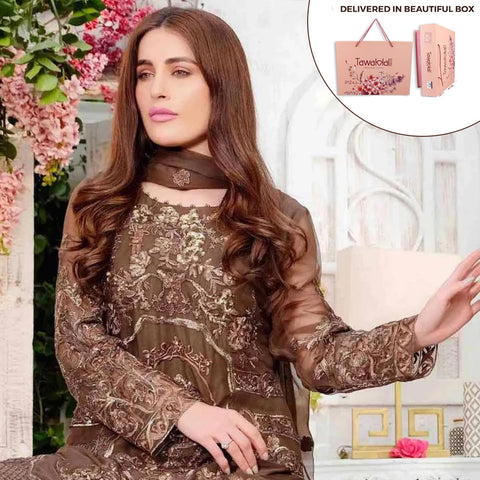 Exclusively Yours Heavy Embroidered Chiffon 3 Piece Un-Stitched Suit - 4639