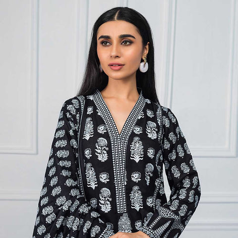 Sahil Black & White Printed Lawn Un-Stitched Suit - 05