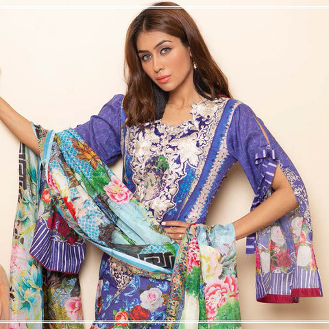 Veena Durrani Embroidered Lawn Suit - 05 - test-store-for-chase-value