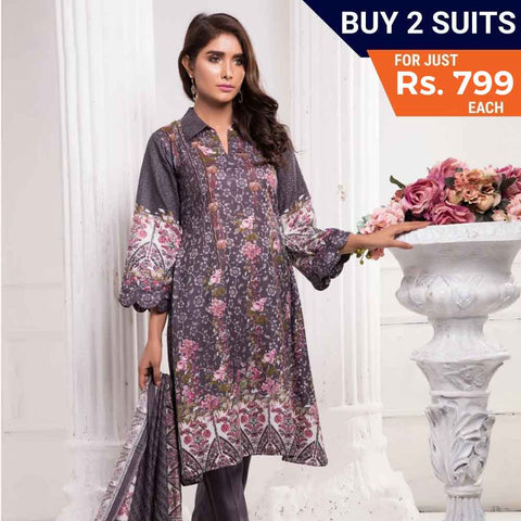 Sahil Printed Lawn 3 Piece Un-Stitched Suit Vol 7 - ZS 06 - test-store-for-chase-value
