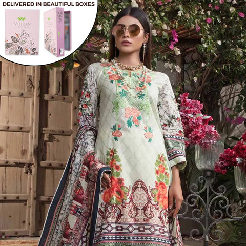 Noor Fatima Embroidered Lawn 3 Piece Un-Stitched Suit - B2