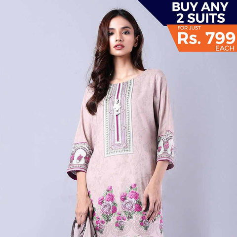Rangreza Printed Lawn Vol-1 Un-Stitched Suit (2B) - test-store-for-chase-value