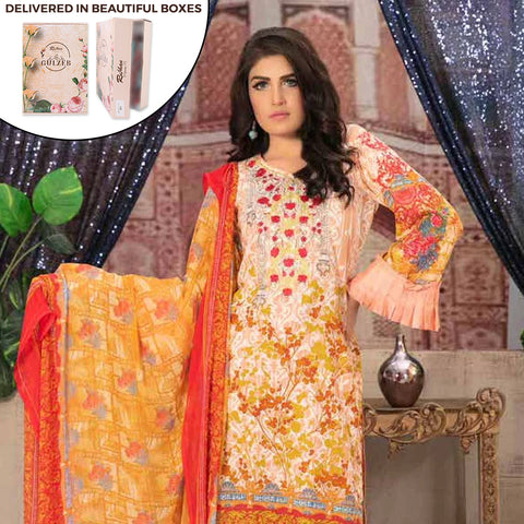 Gulzeb Embroidered Lawn Un-Stitched Suit - 7