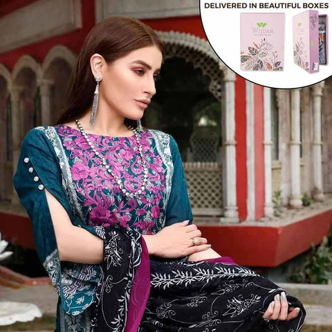 Zobia Noor Embroidered Lawn 3 Piece Un-Stitched Suit - ZN-02B