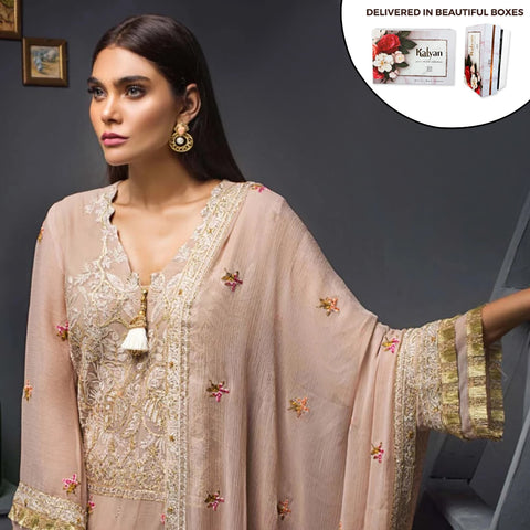 Kalyan Chiffon Embroidered 3 Piece Un-Stitched Suit - 07