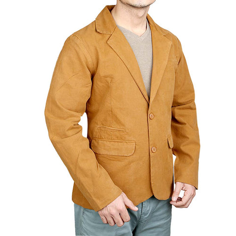 Men's Fancy Bone Pocket Cotton Coat - Camel