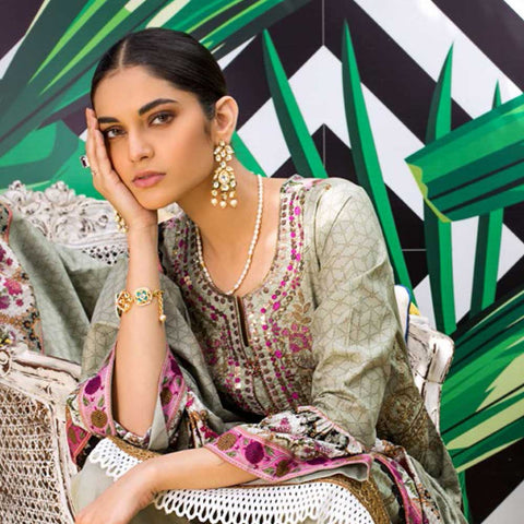 Signature Icon Printed Embroidered Lawn 3 Piece Un-Stitched Suit - 5 A