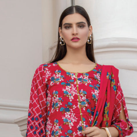 Monsoon Printed Lawn 3 Piece Un-Stitched Suit Vol 2 - 5 A