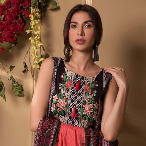 Sahil Luxury Embroidered Festive Lawn 3 Piece  Un-Stitched Suit - A5