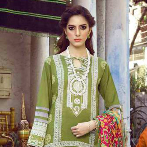 Monsoon Printed Lawn 3 Piece Un-Stitched Suit Vol 1 - 5 B