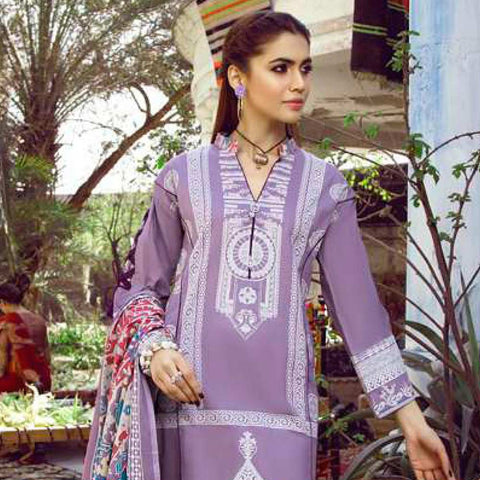Monsoon Printed Lawn 3 Piece Un-Stitched Suit Vol 1 - 5 C