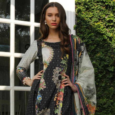 Digital Printed Cotton Satin 3 Piece Un-Stitched Suit - 06