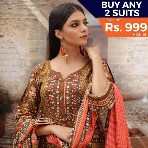 Rangreza Printed Cotton 3 Piece Un-Stitched Suit - 06