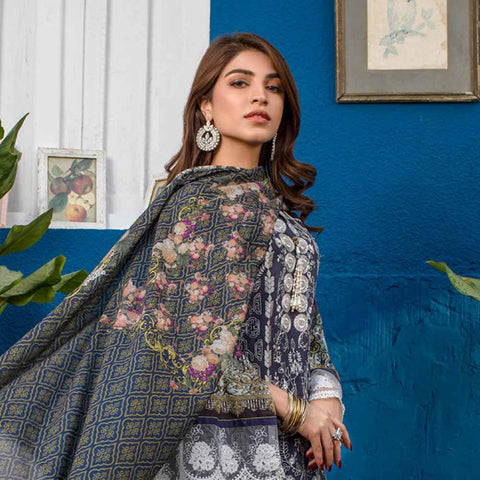 Regalia Digital Printed Embroidered Lawn 3 Piece Un-Stitched Suit Vol 2 - 6