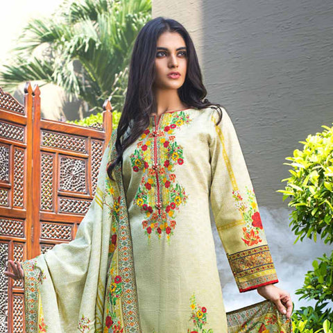 Digital Printed Khaddar 3 Piece Un-Stitched Suit - 06