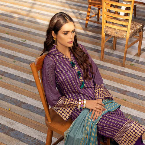 Banarsi Gold Printed Cotton 3 Piece Un-Stitched Suit Vol 2 - 06