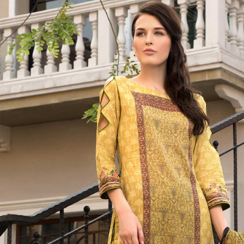 Salina Digital Embroidered Lawn 3 Piece Un-Stitched Suit Vol 1 - 07
