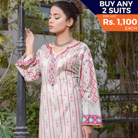 Libas Printed Lawn 3 Piece Un-Stitched Suit Vol 1 - 10 A