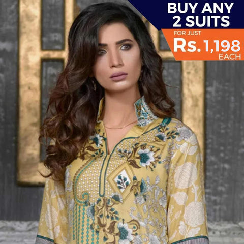 Three Star Printed Lawn 3 Piece Un-Stitched Suit Vol 1 - 3 A