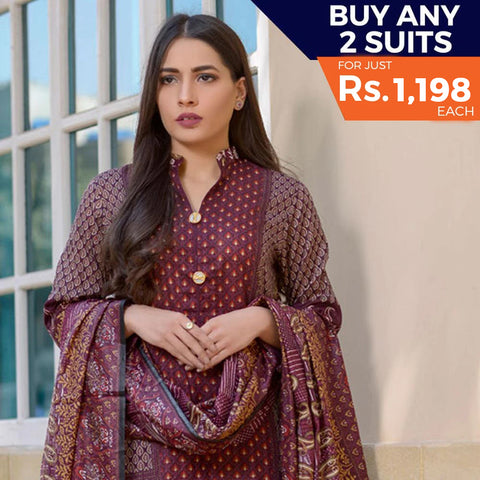 Three Star Printed Lawn 3 Piece Un-Stitched Suit Vol 2 - 5 A