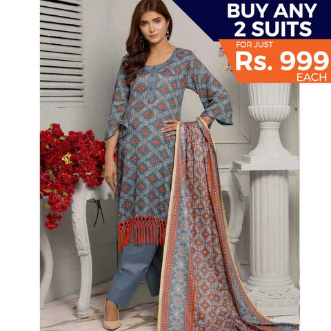 Rangreza Printed Lawn 3 Piece Un-Stitched Suit Vol-05 ZS - 07