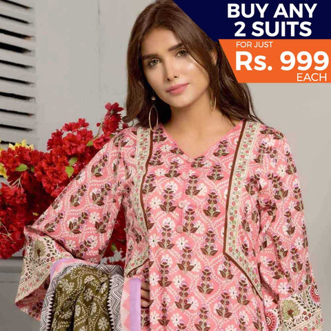 Rangreza Printed Lawn 3 Piece Un-Stitched Suit Vol-05 ZS - 08