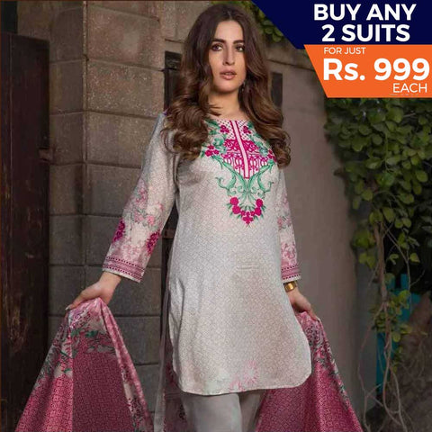 Rangreza Printed Lawn Vol-1 Un-Stitched Suit (6B)