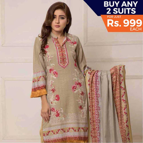 Rangreza Printed Lawn Vol-1 Un-Stitched Suit (8A)