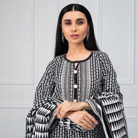 Salina Black & White Printed Lawn 3 Piece Un-Stitched Suit - 06