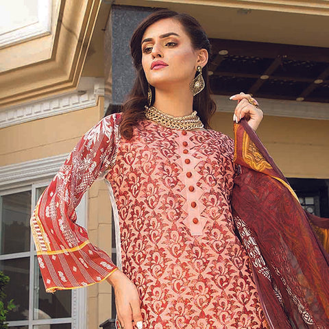 Masumery Embroidered Lawn 3 Piece Un-Stitched Suit Vol 17 - 06