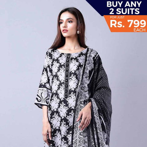 Sahil Black & White Printed Lawn Un-Stitched Suit 4