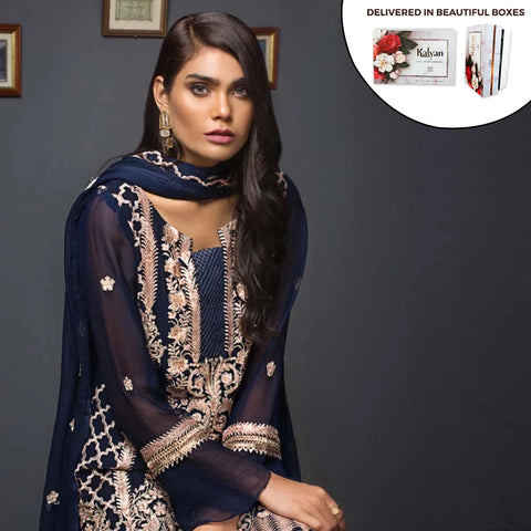 Kalyan Chiffon Embroidered 3 Piece Un-Stitched Suit - 01